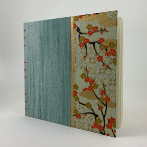 "Journal/Sketchbook (Seafoam Asahi Bookcloth/Cherry Blossom Chiyogami) 6.5"" x 6.5"""