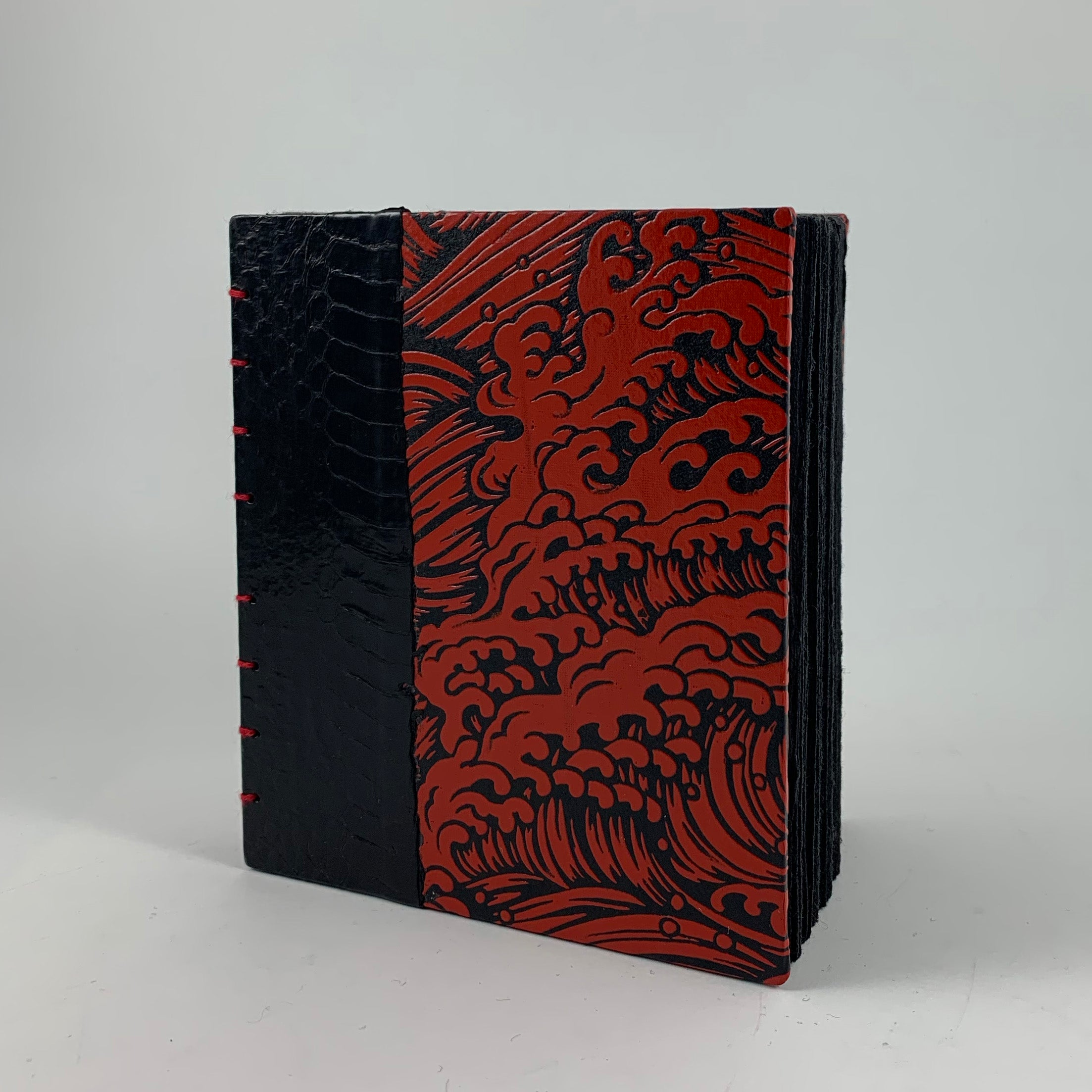 "Journal/Sketchbook (Black Snakeskin, Red Lacquer Yuzen) 4.75"" x 4.25"""