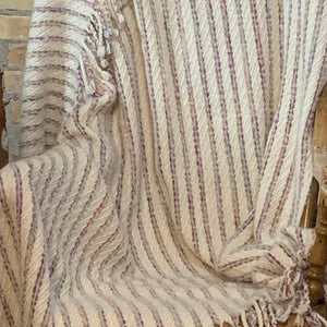 Lap Blanket (Natural White, Multi-coloured Accent Stripes)