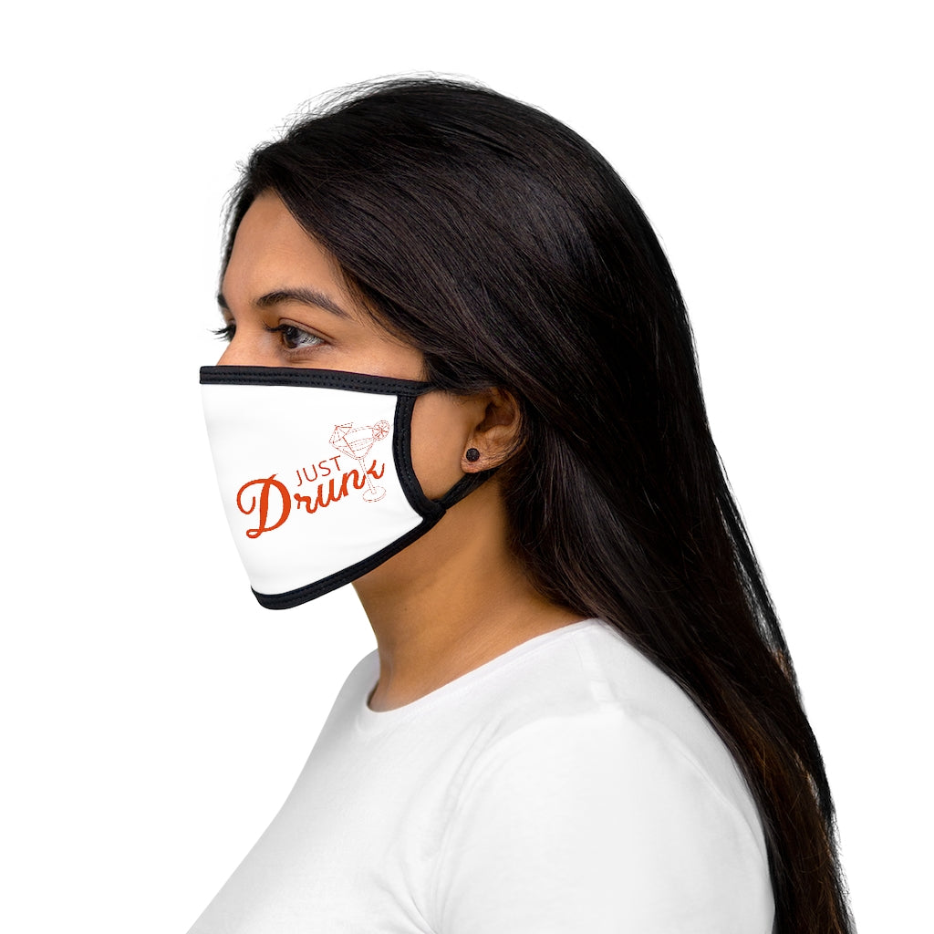 Just Drunk Graphic Labelled Design Unisex Fabric Reusable Facemask For Bride And Groom 100% Cotton Inside Mixed Print And White Color