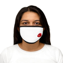 Load image into Gallery viewer, Red Lip Graphic Labelled Design Unisex Fabric Reusable Facemask For Bride And Groom 100% Cotton Inside Mixed Print And White Color