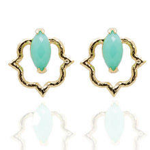 Load image into Gallery viewer, India Affair Chrysoprase Stud Earrings Gold