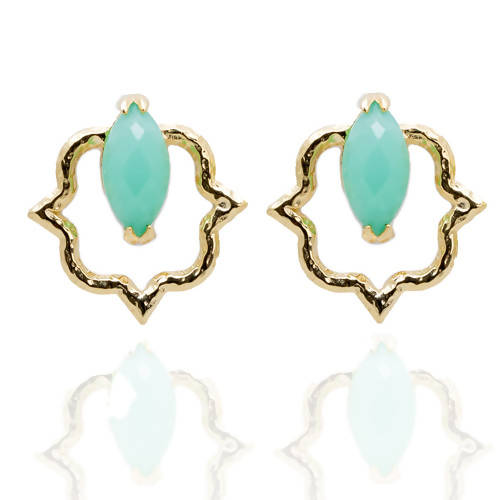 India Affair Chrysoprase Stud Earrings Gold