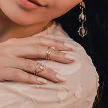 Load image into Gallery viewer, India Affair Rose Quartz Midi Ring Rose Gold
