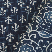 Load image into Gallery viewer, Indigo hand block printed Kantha stitched cotton fabric
