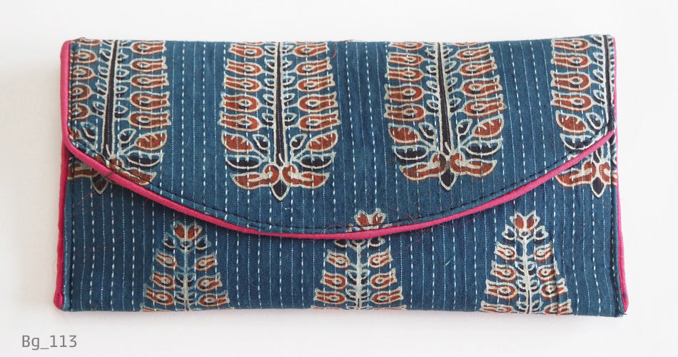 Block printed clutch bags