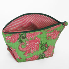 Load image into Gallery viewer, Quilted cosmetic or jewellery purse set - pink/green