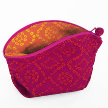 Load image into Gallery viewer, Quilted cosmetic or jewellery purse set - magenta/orange