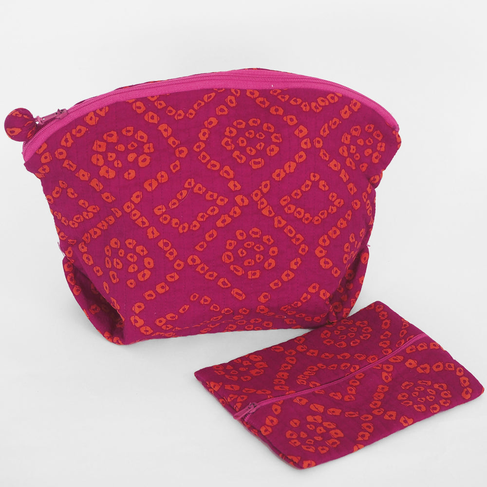 Quilted cosmetic or jewellery purse set - magenta/orange