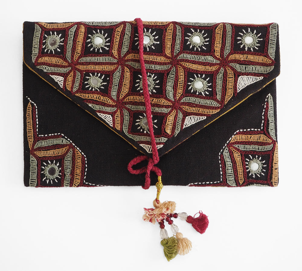Hand embroidered clutch purse