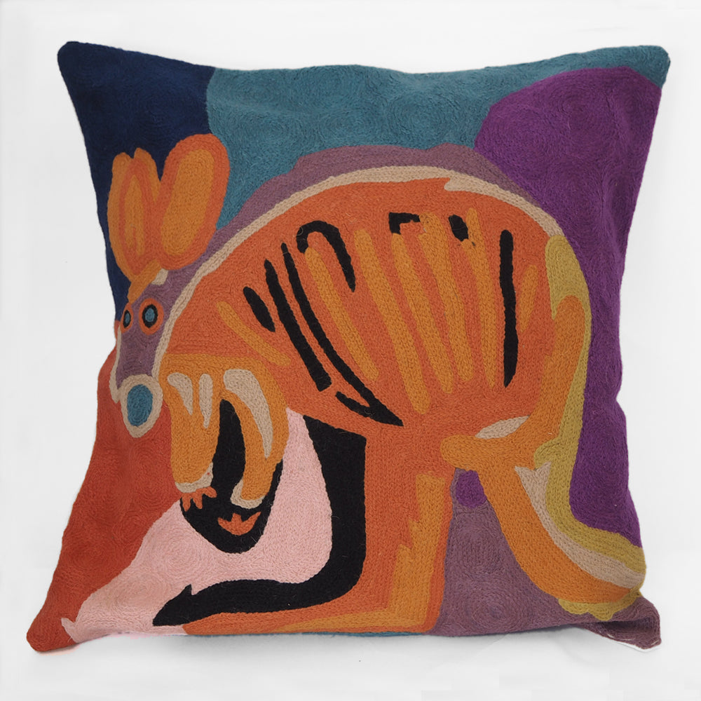 Fair trade embroidered wool cushion cover