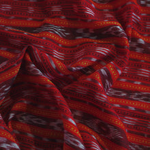 Load image into Gallery viewer, Hand woven red Nuapatna Ikat cotton fabric