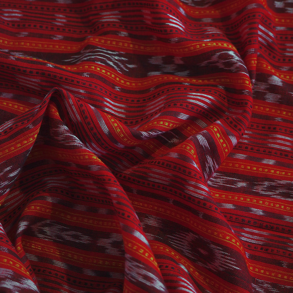 Hand woven red Nuapatna Ikat cotton fabric