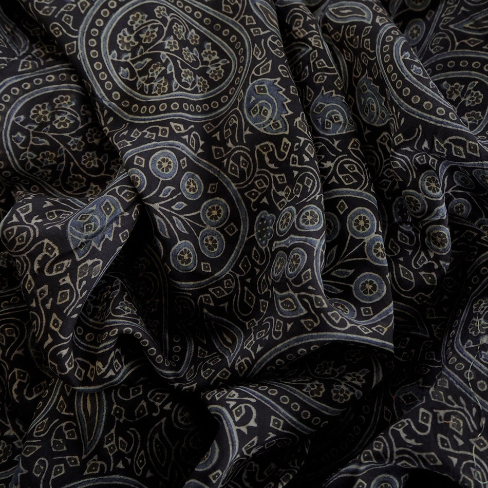 F_012 Hand printed Ajrakh Chanderi Silk with natural dyes  - 3 metres