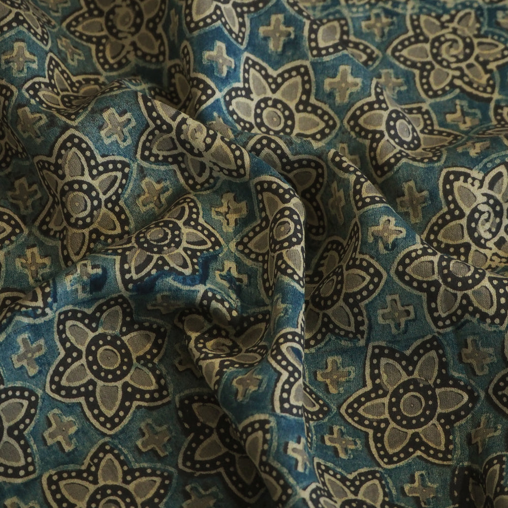 Hand printed Ajrakh Chanderi silk with natural dyes.