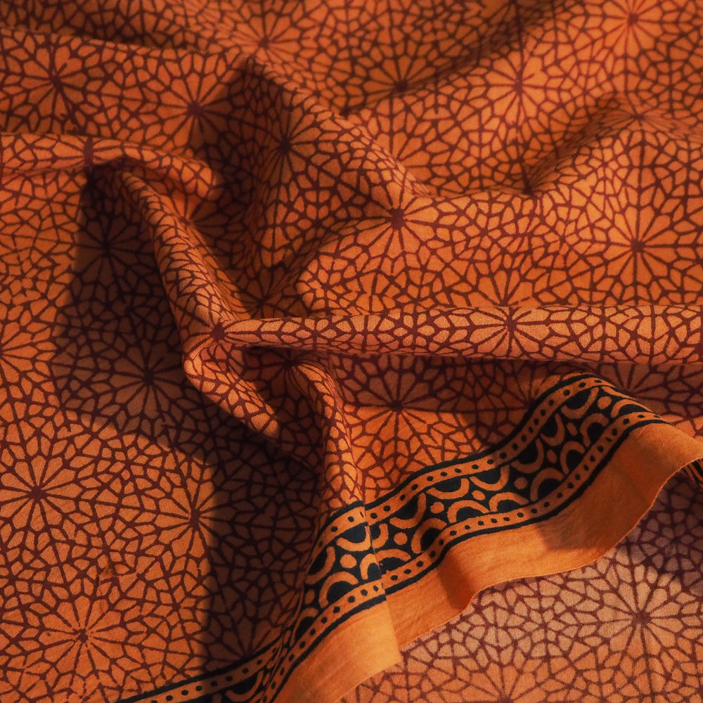 Bagh orange hand block printed cotton - 2.5 metres