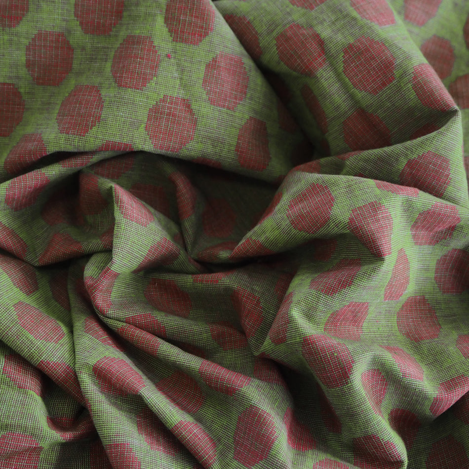Pre-washed jacquard red/green cotton fabric