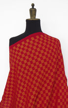 Load image into Gallery viewer, Pre-washed jacquard red/orange cotton fabric