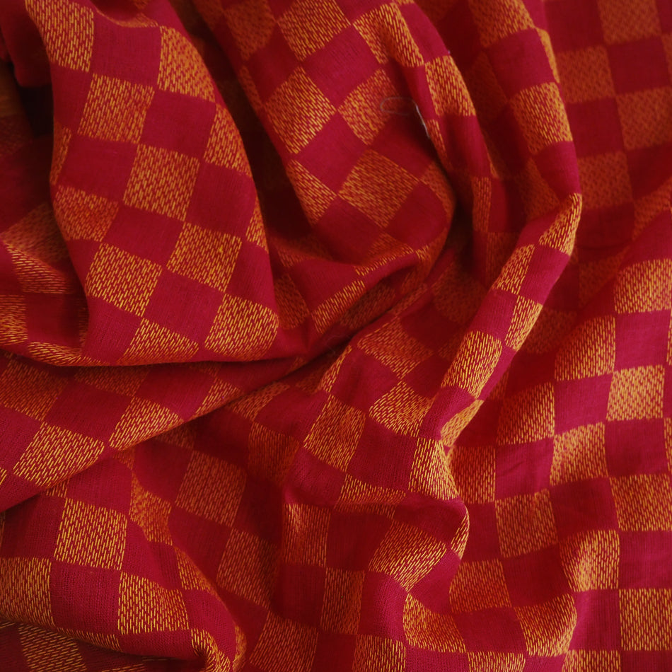 Pre-washed jacquard red/orange cotton fabric