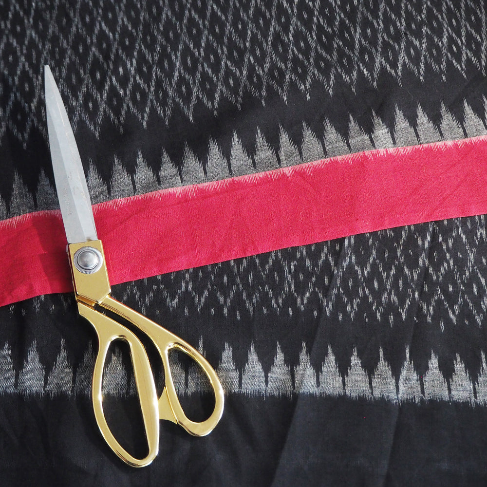 Hand woven black/red Pochampally Ikat cotton fabric