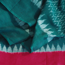 Load image into Gallery viewer, Hand woven Pochampally green/red Ikat cotton fabric