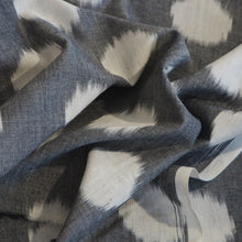 Load image into Gallery viewer, Hand woven Pochampally grey/white Ikat cotton fabric