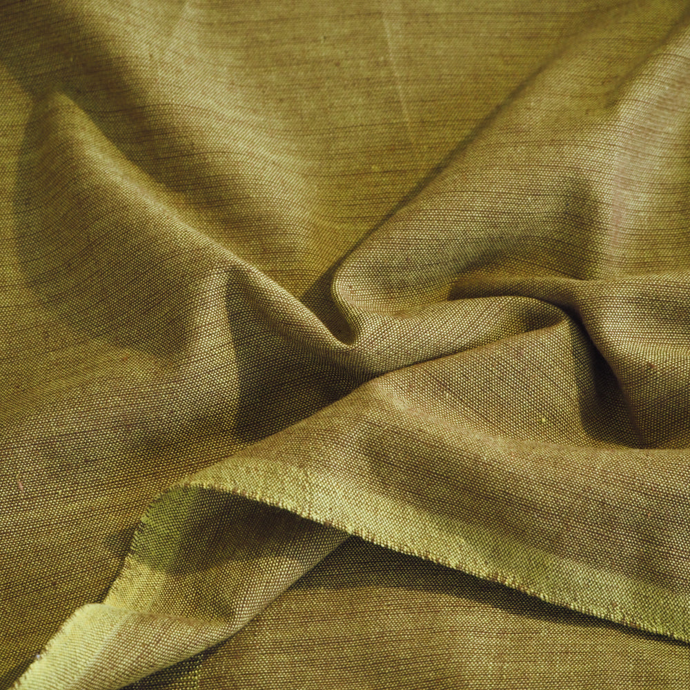 Hand woven ginger green cotton fabric
