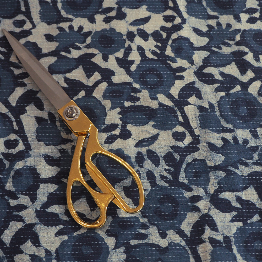 Indigo hand block printed Kantha stitched cotton fabric