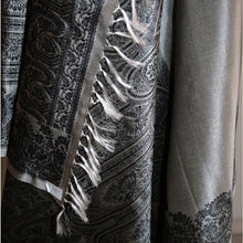 Load image into Gallery viewer, Fair trade hand woven jacquard silk and wool shawl