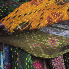 Load image into Gallery viewer, Patchwork silk Kantha shawl