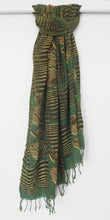 Load image into Gallery viewer, Hand woven fair trade cotton scarf  block printed with peacock feathers