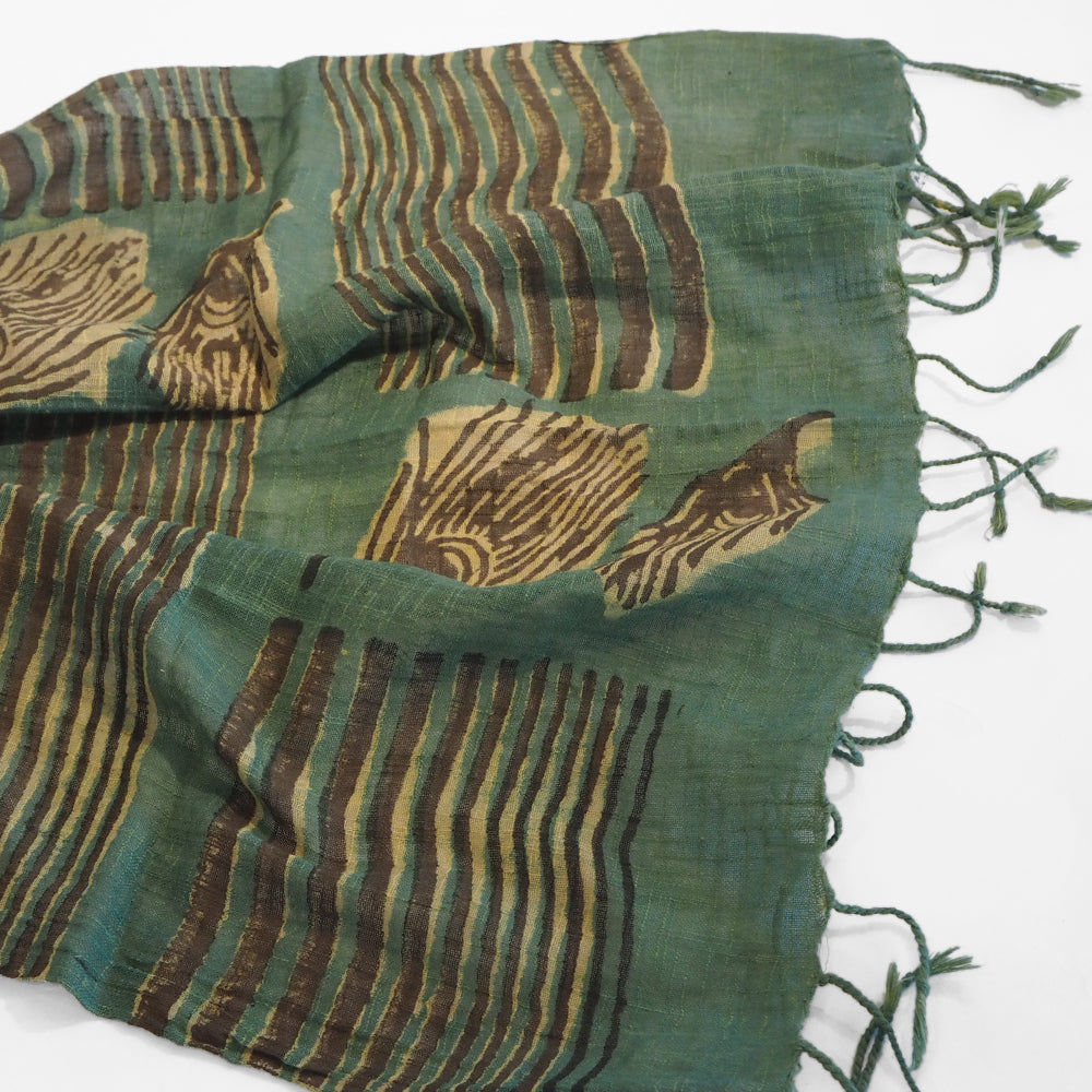 Hand woven fair trade cotton scarf  block printed with peacock feathers