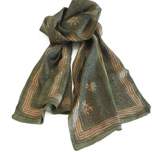Load image into Gallery viewer, Hand woven fair trade tussar silk block printed scarf