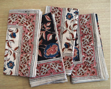 Load image into Gallery viewer, A set of four hand printed table napkins with natural dyes