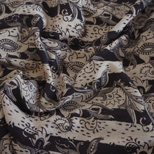Load image into Gallery viewer, Hand block printed beige/black Kalamkari cotton fabric