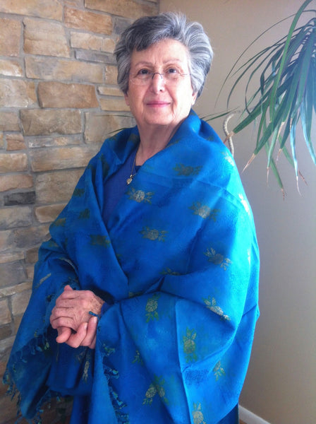 Rita Mouradian wearing antique jacquard fabric from Pleating funtamentals textbook