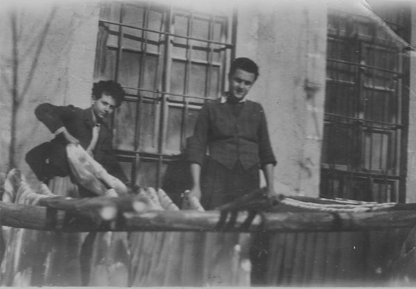 My father Leon and his brother Jack processing textile yarns in Damascus, Syria factory.