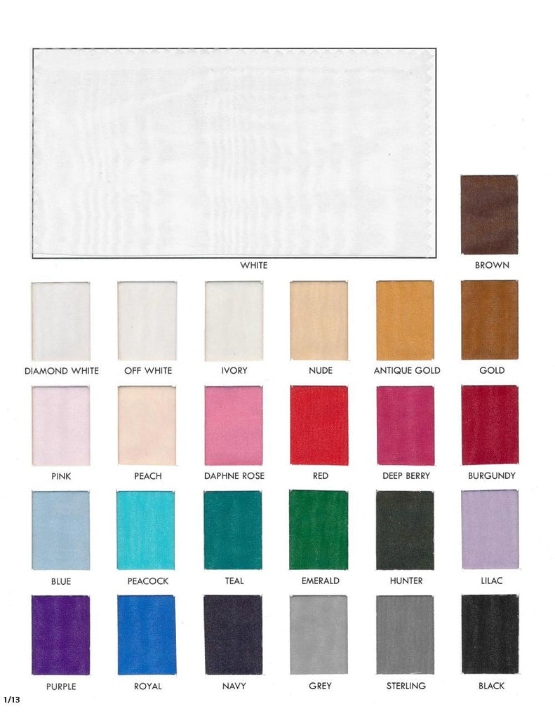 Custom pleated organza fabric color card