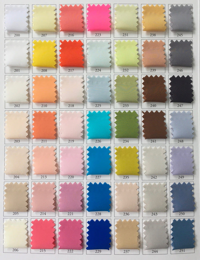 Silk Color Chart for Pleating Orders