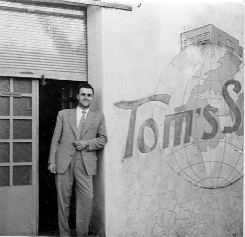 My Uncle Jack standing in front of Original Tom's Sons factory in Lebanon.