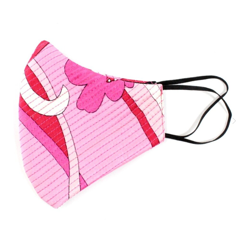 Pink Abstract Print Quilted Satin Standard Mask