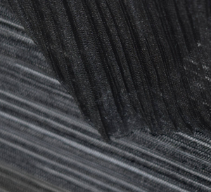 Black Mushroom Pleated Polyester Tulle Fabric