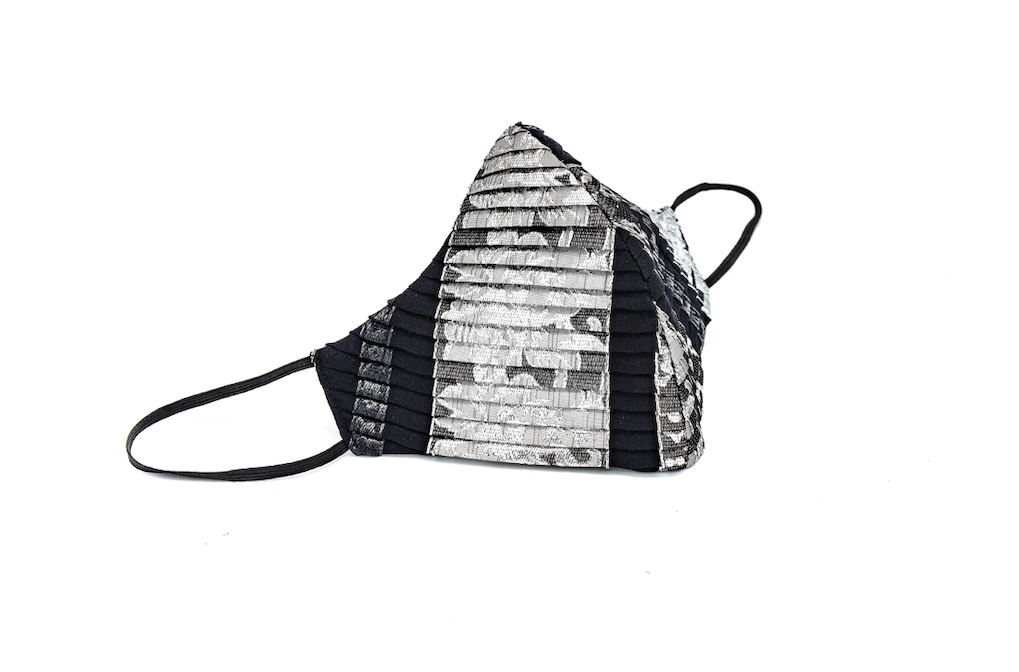 Black & Silver Stripe Pleated Silk Lamé Cheeky Mask