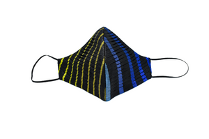 Pleated Multi-Color Stripe Silk Lamé Cheeky Mask