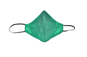 Green Silk Lamé Side Pleated Cheeky Mask