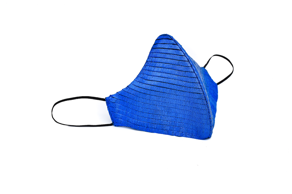 Electric Blue Silk Lamé Side Pleated Cheeky Mask