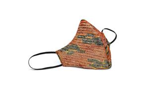 Rust and Black Floral Lamé Side Pleated Cheeky Mask
