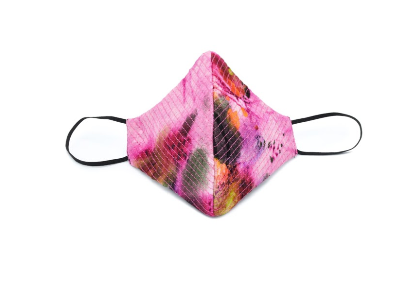 Abstract Fuchsia Sequined Quilted Cheeky Mask