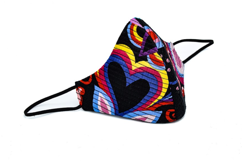 Black and Colorful Floral Silk Quilted Cheeky Mask