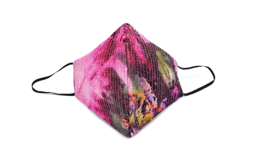 Fuchsia Abstract Floral Print Quilted Standard Mask